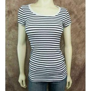 Splendid Striped Black White Scoopneck Top